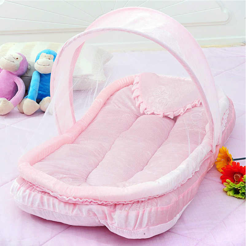 Cheap Baby Crib Netting for Newborns Portable Cradle Bed with Pillow Infant Sleeping Bed Travel Folding Baby Bed Mosquito Net