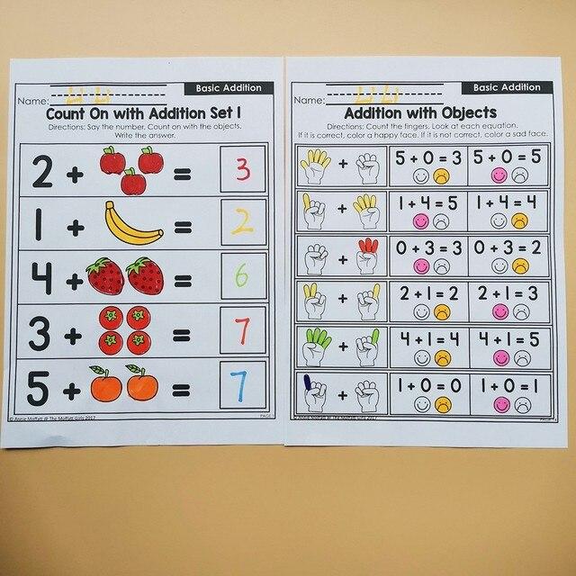 Kindergarten Math Comparing Numbers Homework Paper English Learning Material Practice Reading Book Kids Montessori Workbook 4