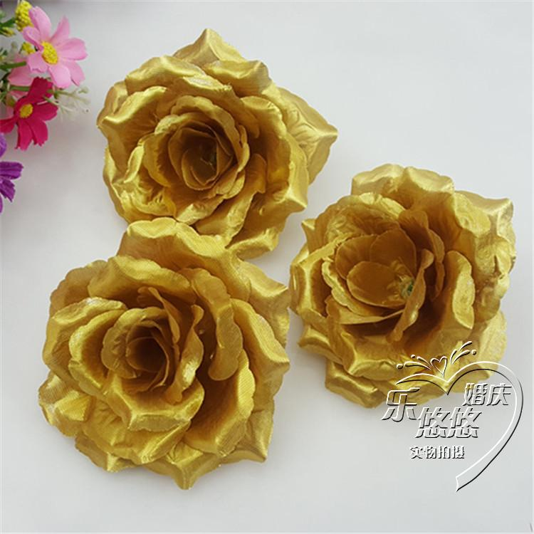 Wholesale 100pcslot Gold Roses Artificial Silk Flower Heads