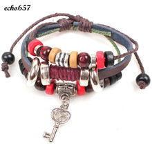 Echo657 Fashion Key Braided Wooden Bead Wrist Bracelet Leather Jewelry Oct 29