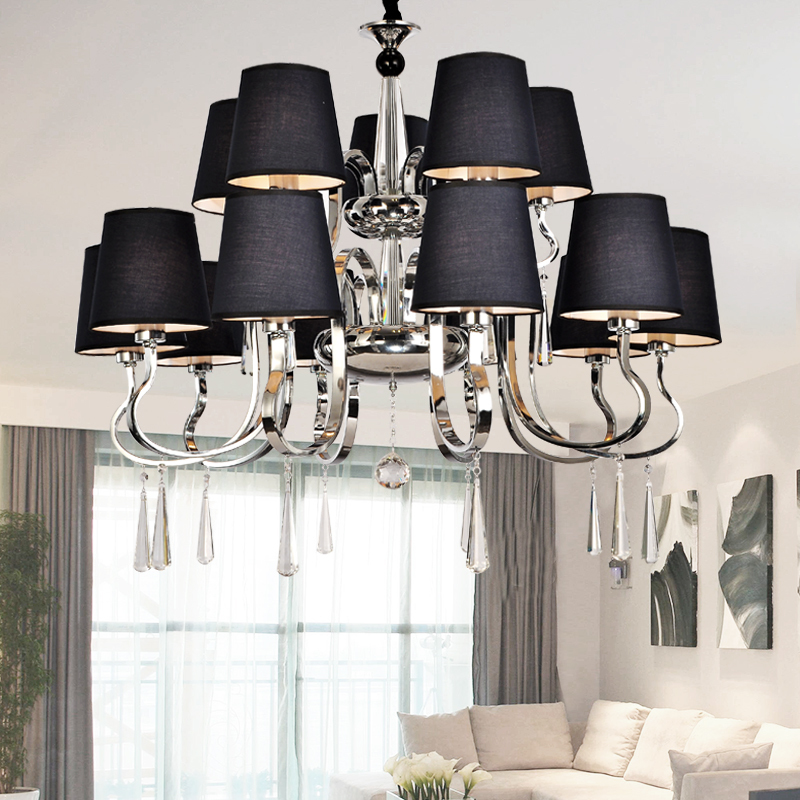 Modern Chandelier Black Fabric Lampshade Chandelier Modern Lighting Living Room Light High Quality Metal Paint