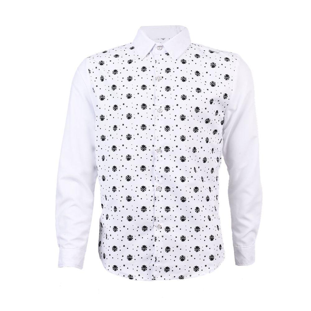 New Mens Shirts Stars Skeleton Head Pattern Long Sleeve Casual Slim