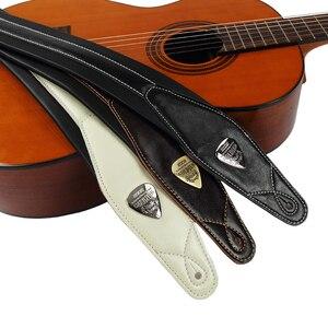 Image 2 - الجندي الراقية الجلود مبطن حزام الغيتار للكهرباء الصوتية الغيتار باس حزام قابل للضبط أسود اللون الأبيض Browm