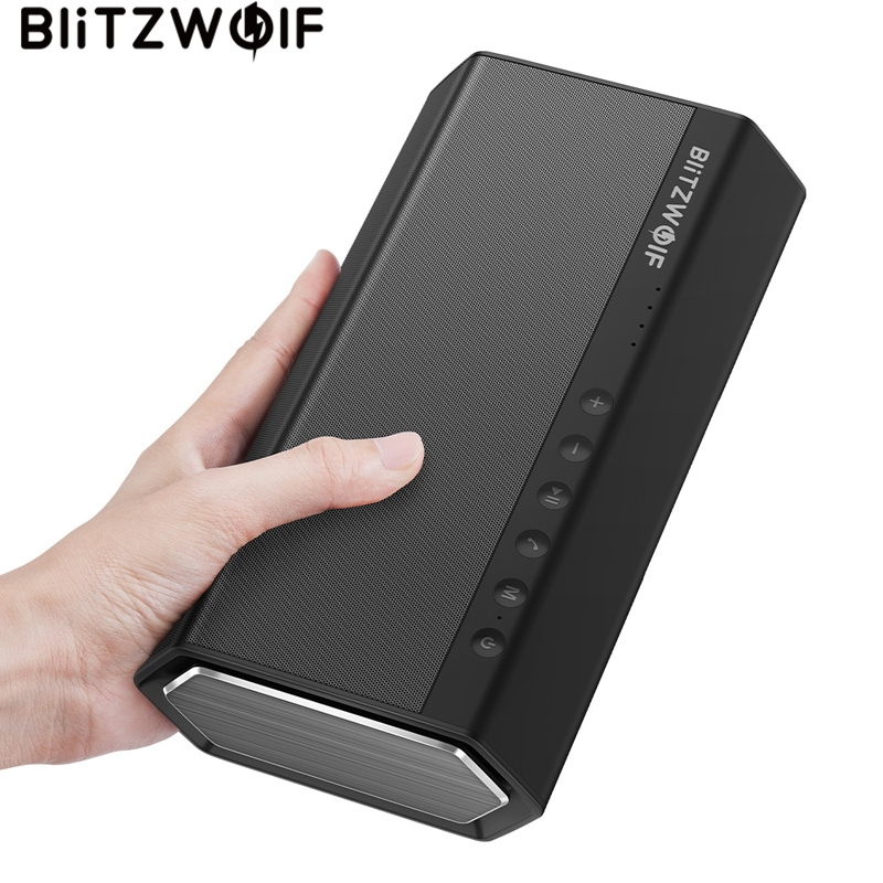 BlitzWolf 40W 5200mAh Double Driver Portable Wireless bluetooth Speaker 30W Strengthened Upward Bass Hands-free Aux-in Speaker new style school bags for boys