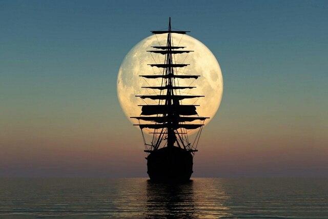 Awesome nautische behang maan zee zeil schip boot KB964 woonkamer ...