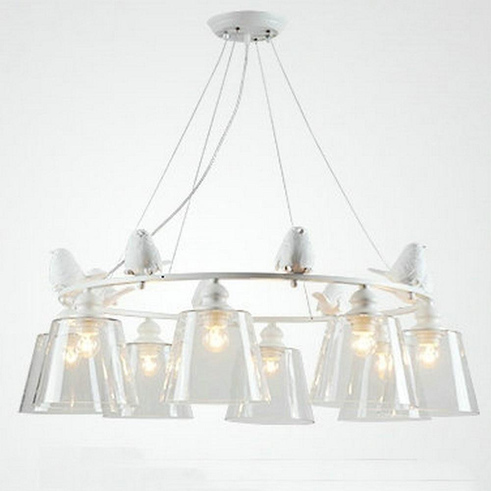Современные светодиодные птица белый гладить спальня светильник подвесной светильник с Стекло абажуры E27 110 В 220 В для гостиной комната