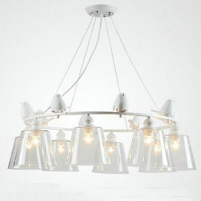 Moderne LED Oiseau Blanc Fer chambre luminaire Suspendu lampe avec
