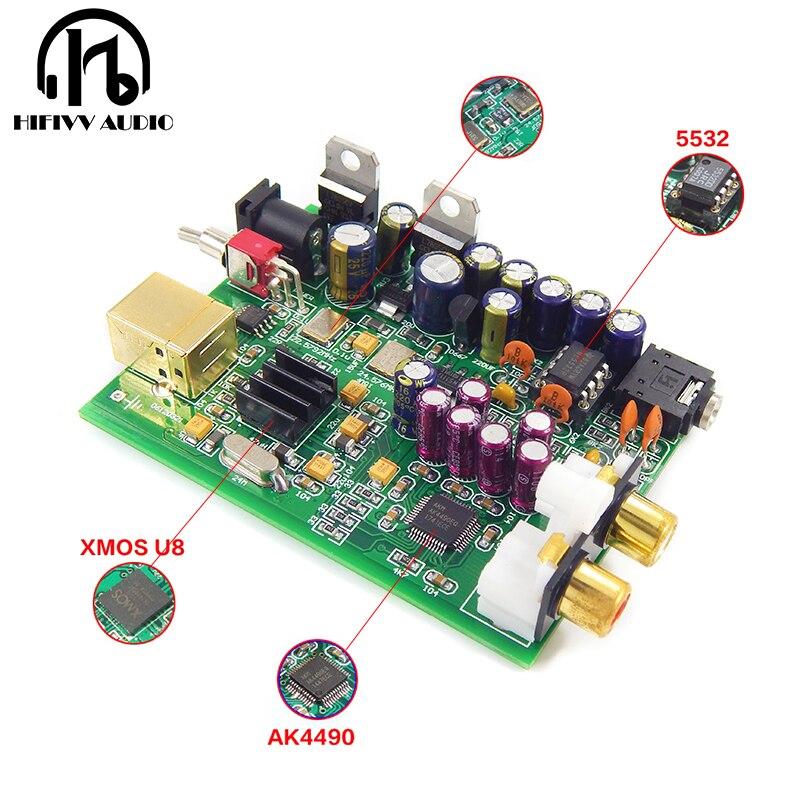 Hifi Decoder Board XMOS U8 + AK4490 AMP NE5532 USB DAC Board Headphone Output Support For PCM 192kHz DC12V