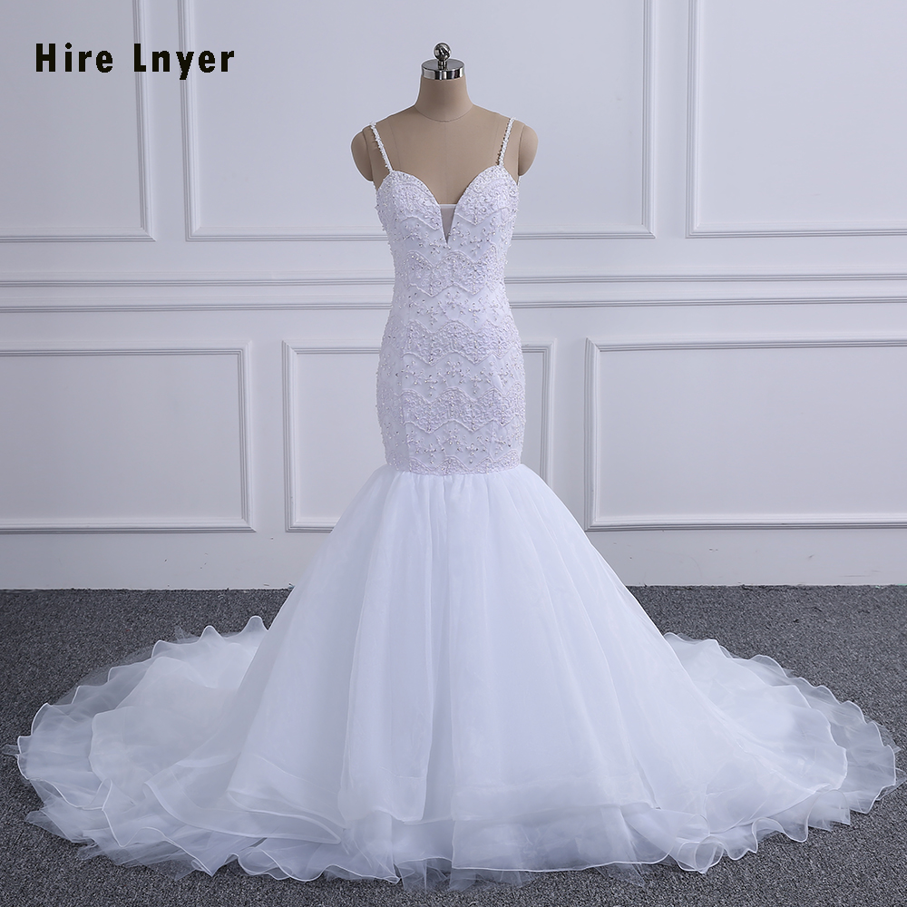 Spaghetti Strap Lace Mermaid Wedding Gowns: HIRE LNYER Sexy Backless Spaghetti Straps Shiny Beading