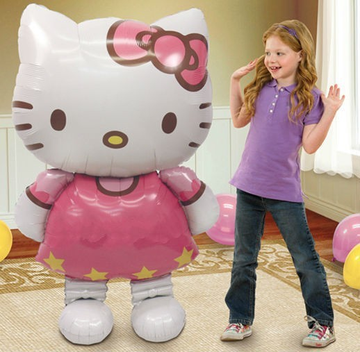 116*65cm Big Size Hello Kitty Cat Foil Balloons Cartoon Birthday Wedding Decoration Party Inflatable Air Balloons Classic Toys