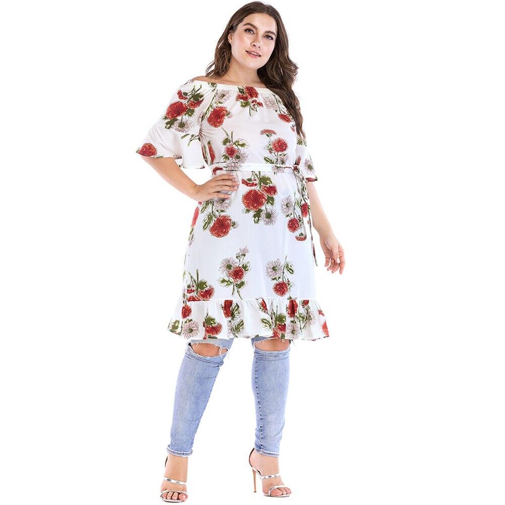 Fashion Women Oversize Off the Shoulder Dress Floral Printed Short Flare Sleeve High Waist Belt Ruffle mini Dresses Vestido