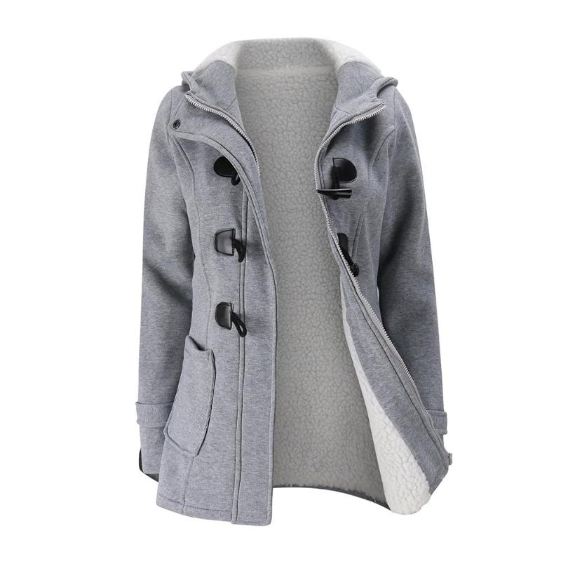 Classic Women Winter Fashion Coat Horn Button Thicken Zipper Hooded Jackets Solid Color Slim Fit Outerwear Girls Warm Overcoat