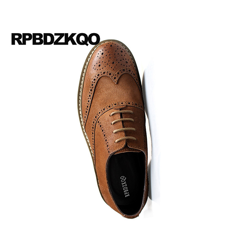 Cheap Sale Italy Brogue Wingtip Office Lace Up Men Dress Italian Leather Shoes European 46 Brown Oxfords Cow Skin 11 Wedding Large Size Men's Shoes