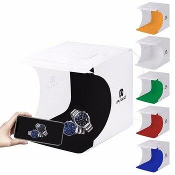 PULUZ 20 cm 2 LED Panelen Opvouwbare Draagbare 1100LM Light Photo Verlichting Studio Schieten Tent Box Kit lightbox 6 Kleuren achtergronden