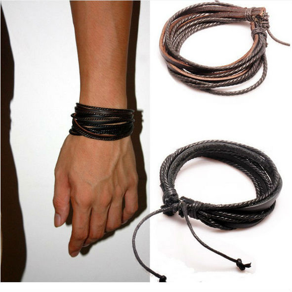 New Arrival Wrap Leather Bracelet Black and Brown Braided Rope for Men and Women Charms Fashion Man Jewelry PI0246
