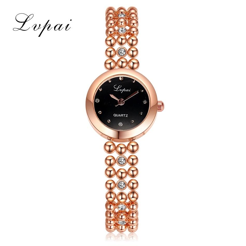 New Brand Lvpai Stainless Steel Bracelet Strap Lady Rose Gold Bling Crystal Bezel Case Quartz Clock Women Dress Wrist Watches