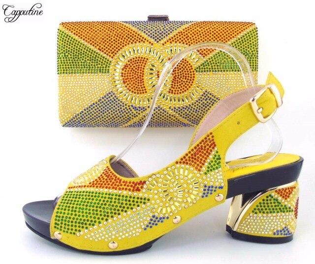 e44f647c Bastante amarillo zapatos Africanos y bolso set para dama de la moda  TH16-45 altura