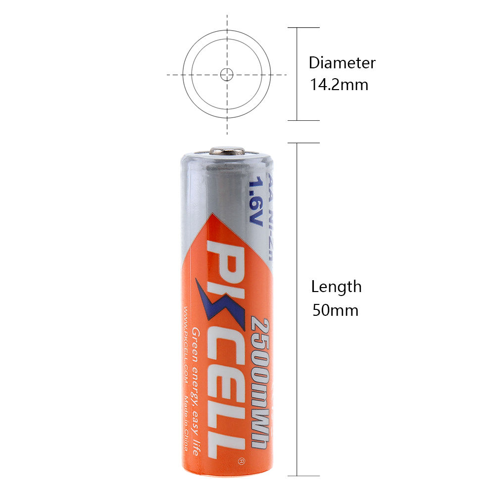 16 pièces/4C PKCELL ni zn 1.6 V Nickel Zinc 2500mWh AA piles rechargeables 2A Bateria-in Batteries rechargeables from Electronique    2