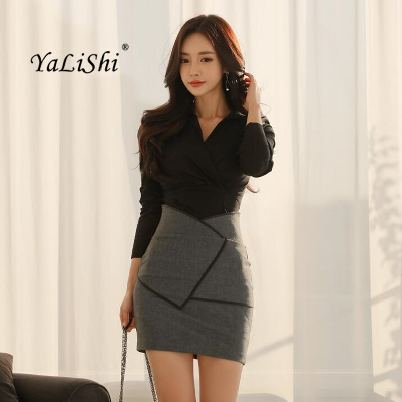 2 Piece Set Women Suit 2018 Spring Office Black V Neck Shirt Tops Blouse and Package Hip Mini Skirts Crop Top and Skirt Vestidos