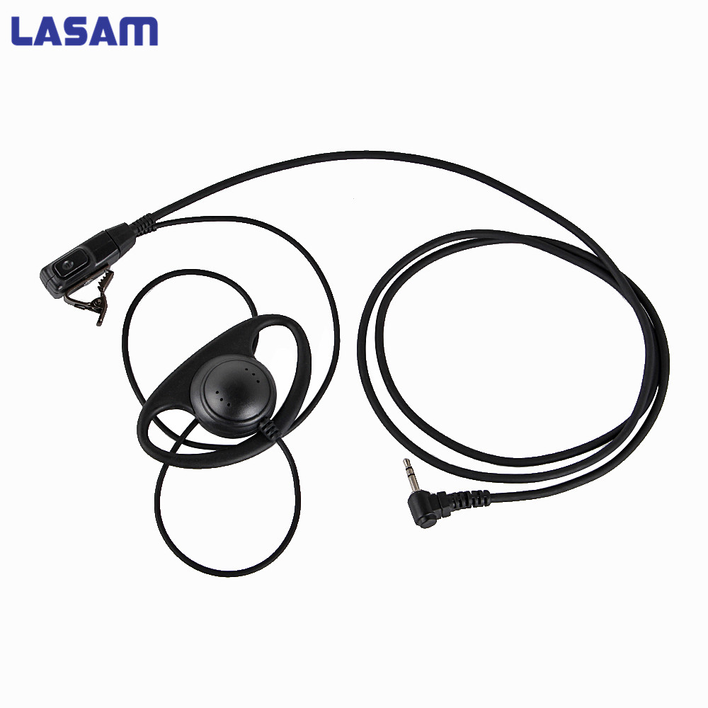 LASAM D Shape Earpiece Headset PTT For Motorola COBRA Two Way Radio Walkie Talkie MH230R MS350R MS350R MR350R MT350R MD200TPR