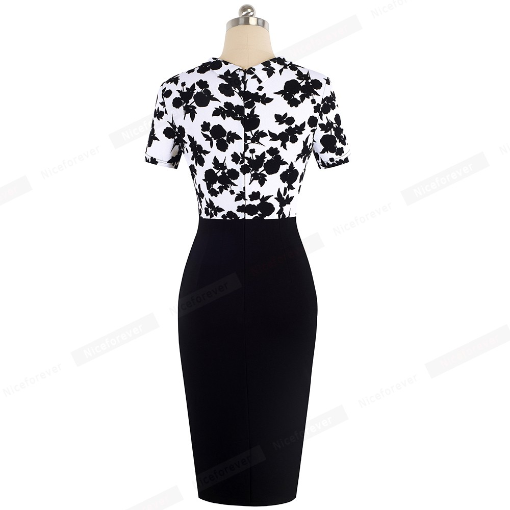 Image 2 - Nice Forever Elegant Floral Patchwork Business Turn Down Collar vestidos Formal Work Office Bodycon Women Female Dress B535Dresses   -