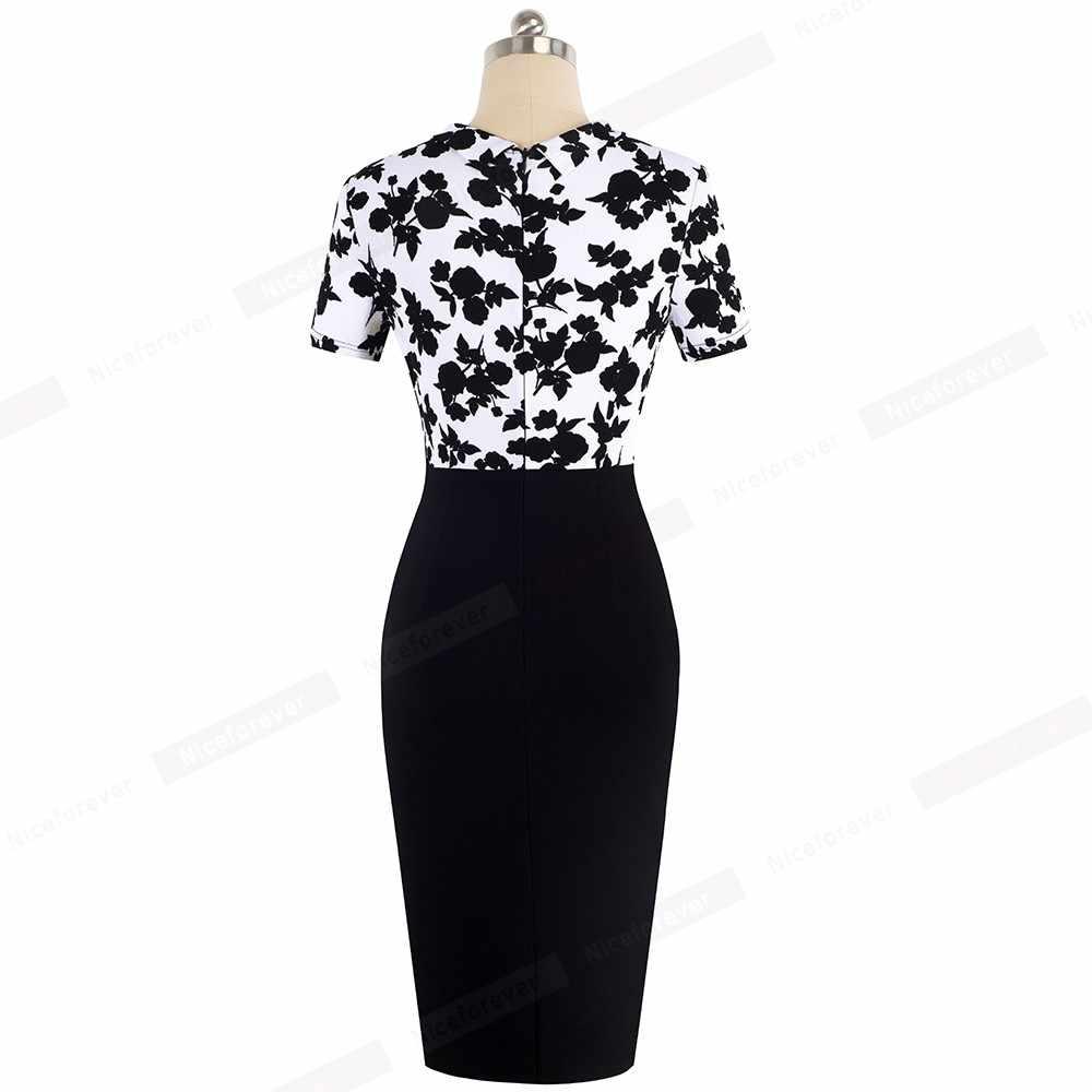 Nice-Forever Elegant Floral Patchwork Business Turn-Down Collar vestidos Formal Work Office Bodycon Women Female Dress B535