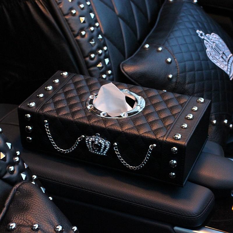 Luxury-Leather-Rivets-Car-Tissue-Paper-Box-Holder-Case-Auto-Interior-Accessories-Black-l2