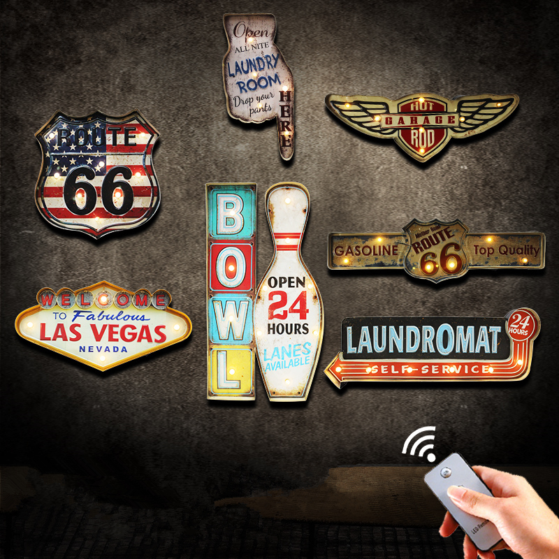 Retro LED Metal Signs Wall Decorative Painting Las Vegas Bowl Illuminated Garage Route 66 Signboard Hanging