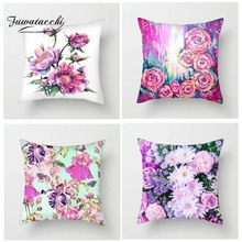 Fuwatacchi Oil Paint Flowers Cushion Covers Rose Lily Sunflower Pillow for Home Sofa Chair Decor Square Pillowcases