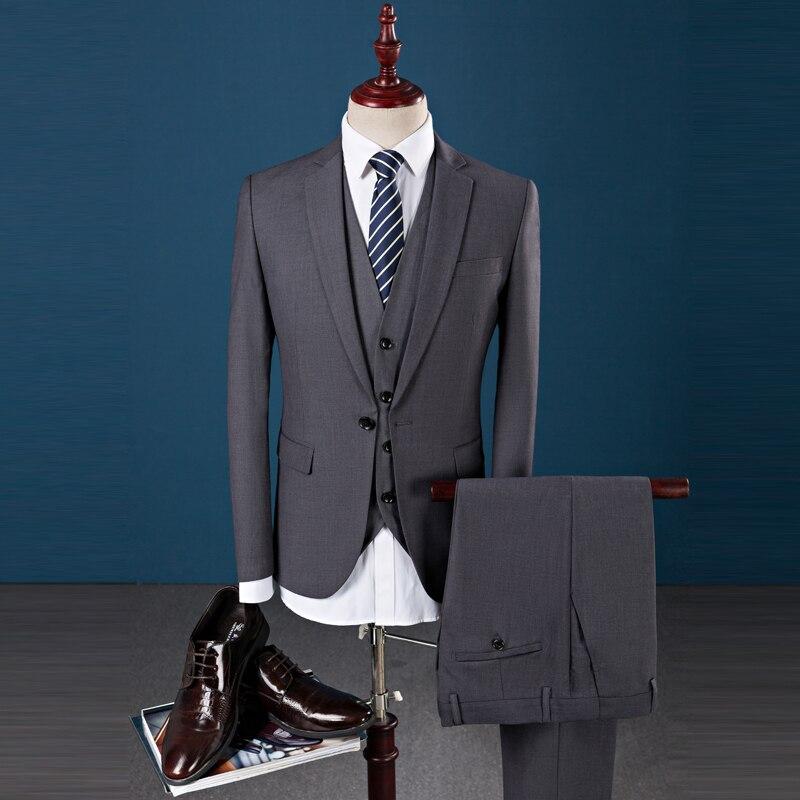 9418e1bf30269 3 шт. 2018 итальянские мужские костюмы серые Свадебные смокинги куртка +  брюки + жилет жениха костюм мужской пиджак в деловом стиле набор для ша.