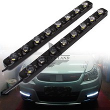 цена на 1pair LED High Power Car 8LEDS White Daytime Running Light DRL Fog Warning Decorative Lamp High Power Waterproof Universal Fit