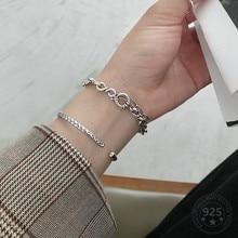 LouLeur Echt 925 Sterling Silber Armband Minimalistischen Trendy Dicke Kette Partei Armbänder Für Frauen Mode Schmuck Sommer Geschenke