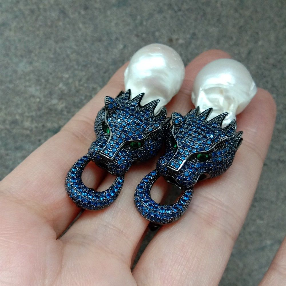 White Keshi Pear Earrings Gunmetal Blue Cz Pave Dragon Earrings