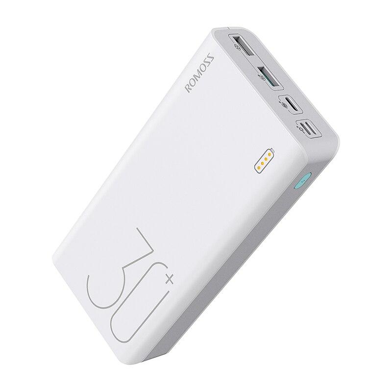 30000mAh ROMOSS Sense 8+ power Bank портативный внешний аккумулятор с QC двусторонней быстрой зарядкой портативный внешний аккумулятор зарядное устройство для телефона - Цвет: White