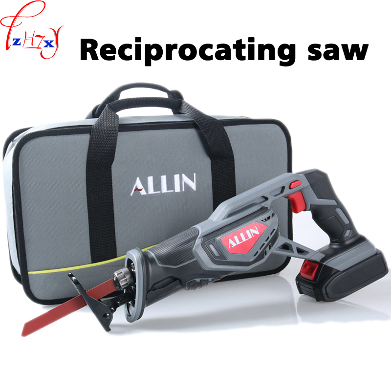 Rechargeable reciprocating saw portable household electric small wood/metal/plastic cutting reciprocating saw 20V3000mAh 1PC portable rechargeable reciprocating saw wood cutting saw 20v 3000mah electric wood metal plastic saw