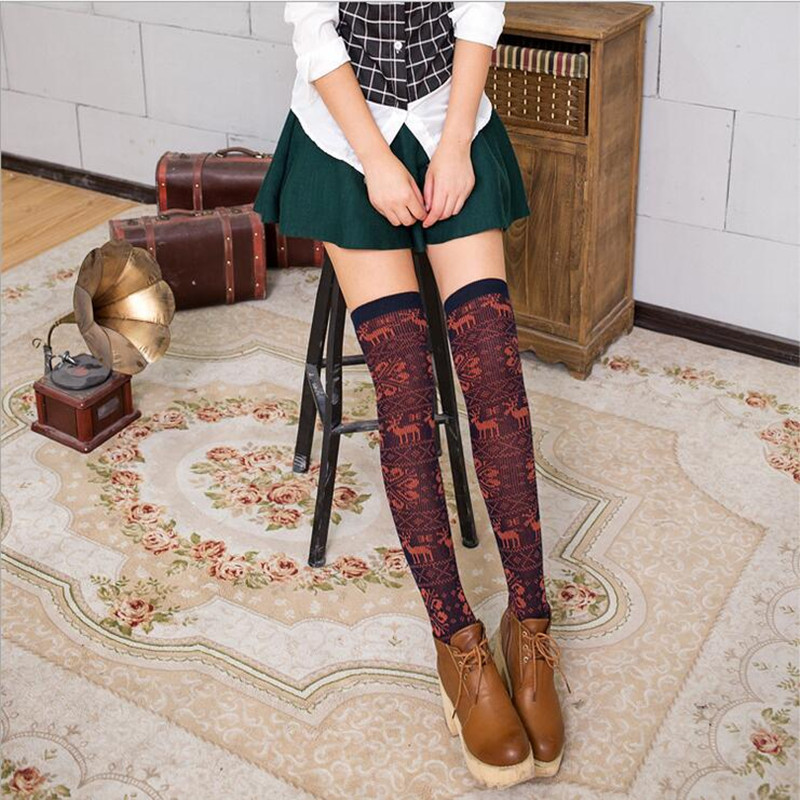 1 pair New Winter women girl Cotton Stocking Women Snow and Deer Patterns Vintage Stockings Over