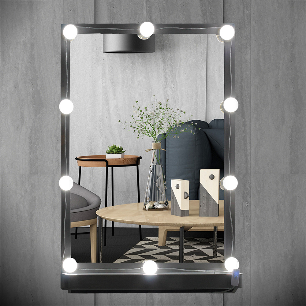 USB Plug Makeup Mirror Vanity LED Light Bulbs Kit for Dressing Table with Dimmer, 10 White Bulbs Hollywood Style Light String wooden dressing table makeup desk with stool oval rotation mirror 5 drawers white bedroom furniture dropshipping