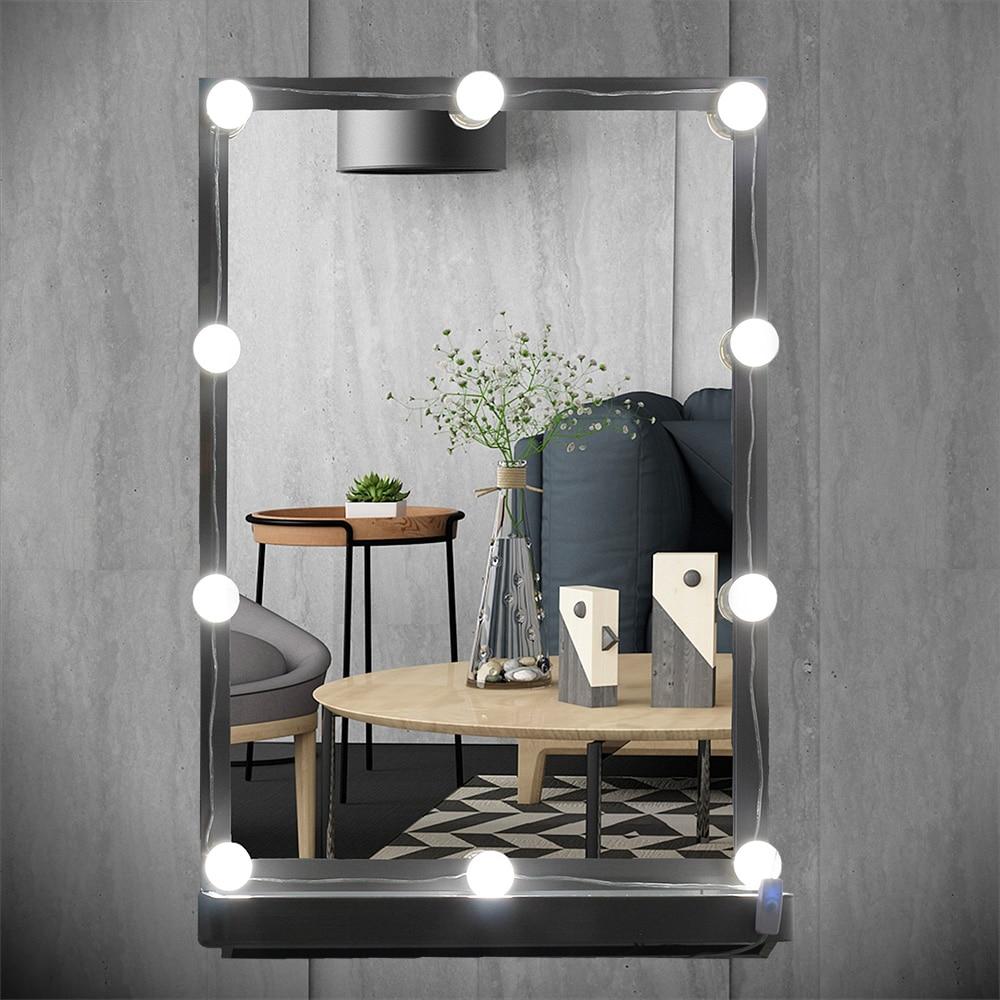 USB Plug Maquillage Miroir Vanité LED Ampoules Kit pour Coiffeuse avec Gradateur, 10 Blanc Ampoules Hollywood Style Guirlande Lumineuse