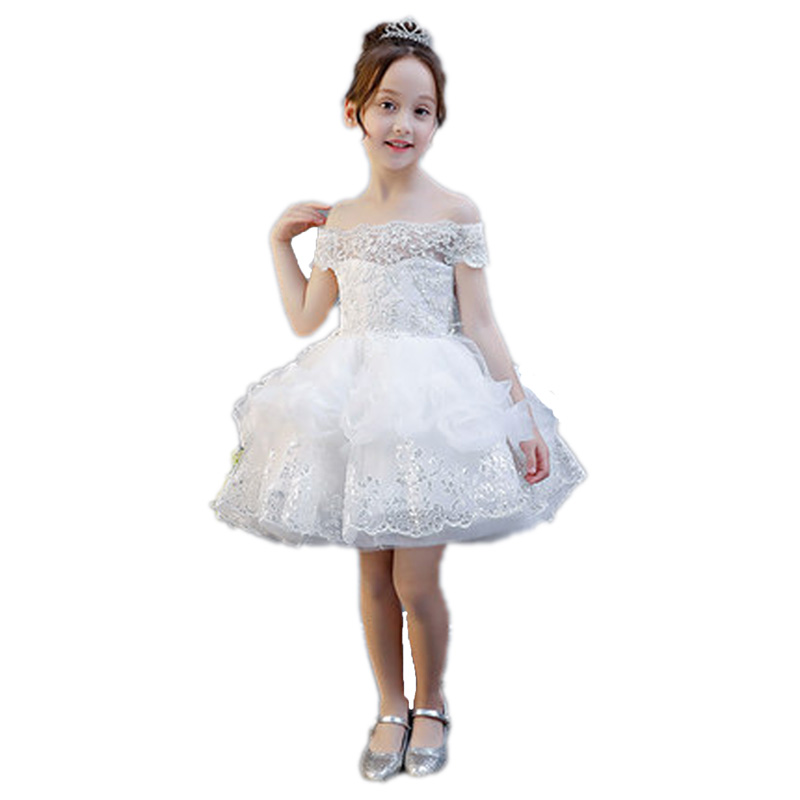 Children Girls White Birthday Wedding Party Princess Dress Shouldless Lace Dress kids Appliques Costume Teenagers Dress E119 2017 new high quality girls children white color princess dress kids baby birthday wedding party lace dress with bow knot design