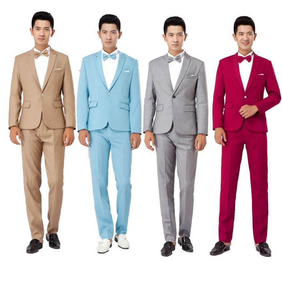 New Long-Sleeved Mens Suits Dress Hosted Theatrical Tuxedos For Men Wedding Prom suit jacket and pants two-piece