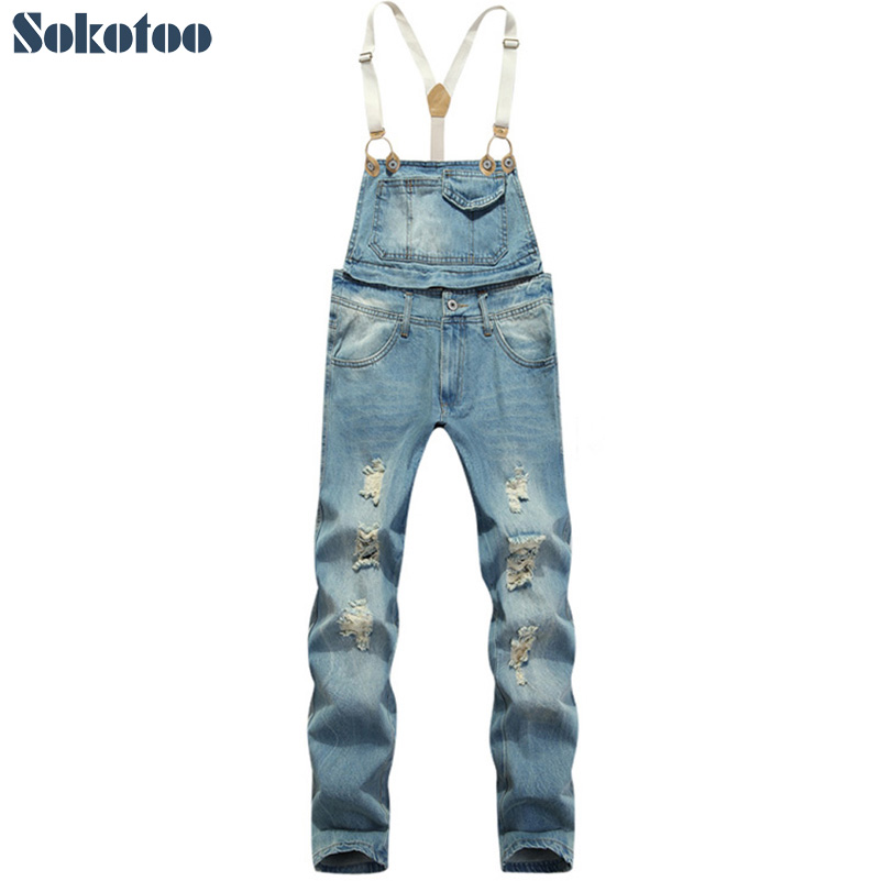 Sokotoo Fashion men's slim ankle length bib pants Male hole ripped denim jeans Suspenders overalls Jumpsuits for men men cool ripped hole blue denim overalls men denim jumpsuit bib pants suspenders trouser for man long slim jeans for male 063007