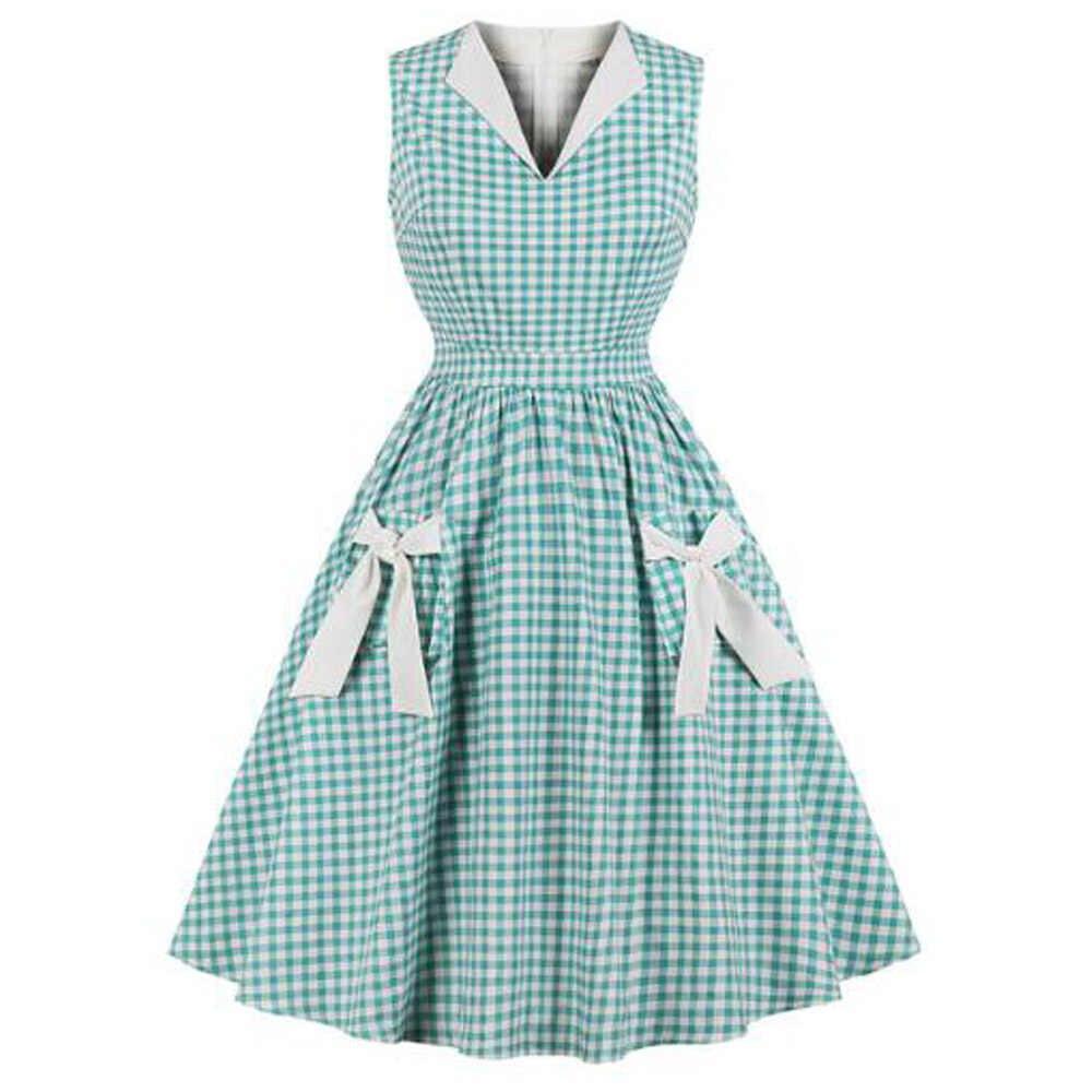 Женские 50 s 60 стиль винтаж качели рокабилли Ретро платье плед печати бантом без рукавов чай плюс размеры летние платья Vestidos