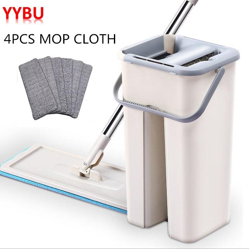 YYBU Drop Shipping Mop with Bucket 4PCS Replacement Mop Cloth Magic Floor Cleaning Squeeze Flat Mops Kitchen Floor Cleaner floor