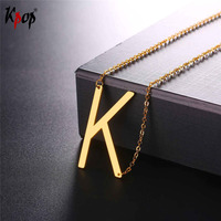 Kpop Stainless Steel Letter K Pendant With Chain Choker Gold Black Color For Man Woman Clavicle
