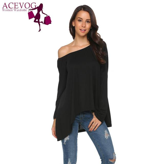 ACEVOG Tops Shoulder Sleeve Sexy Solid T-Shirt Asymmetrical Women One Long Loose for girl women t shirt