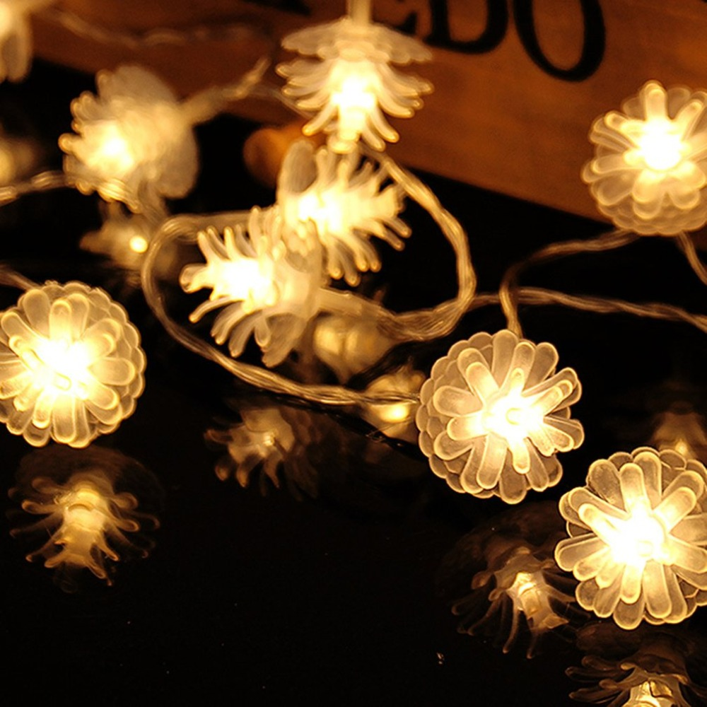 2.2m 20LEDs Pine Cone Shape Fairy String Decorative Lights Battery Operated Wedding Christmas Outdoor Patio Garland Decor