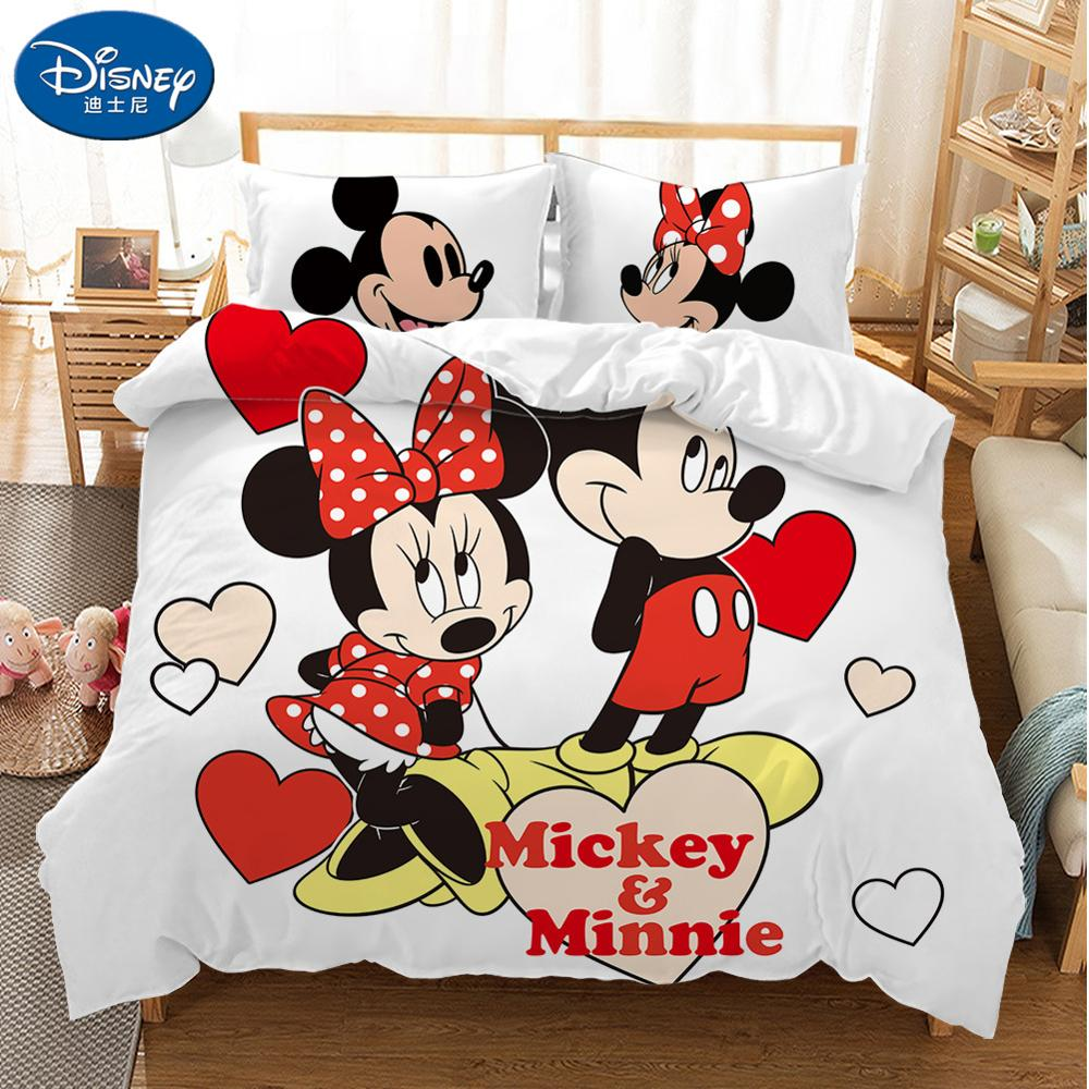 Girls Boys Minnie Or Mickey Toddler Bed Quilt Cover /& Pillow Case Set Cot Bed