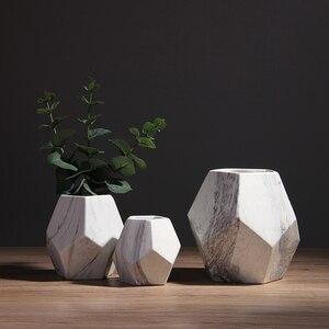 Image 2 - Vaso de cerâmica branco com marcação, decoração de casa ou escritório, em formato de geométrico, 1 peça 10/13/17cm