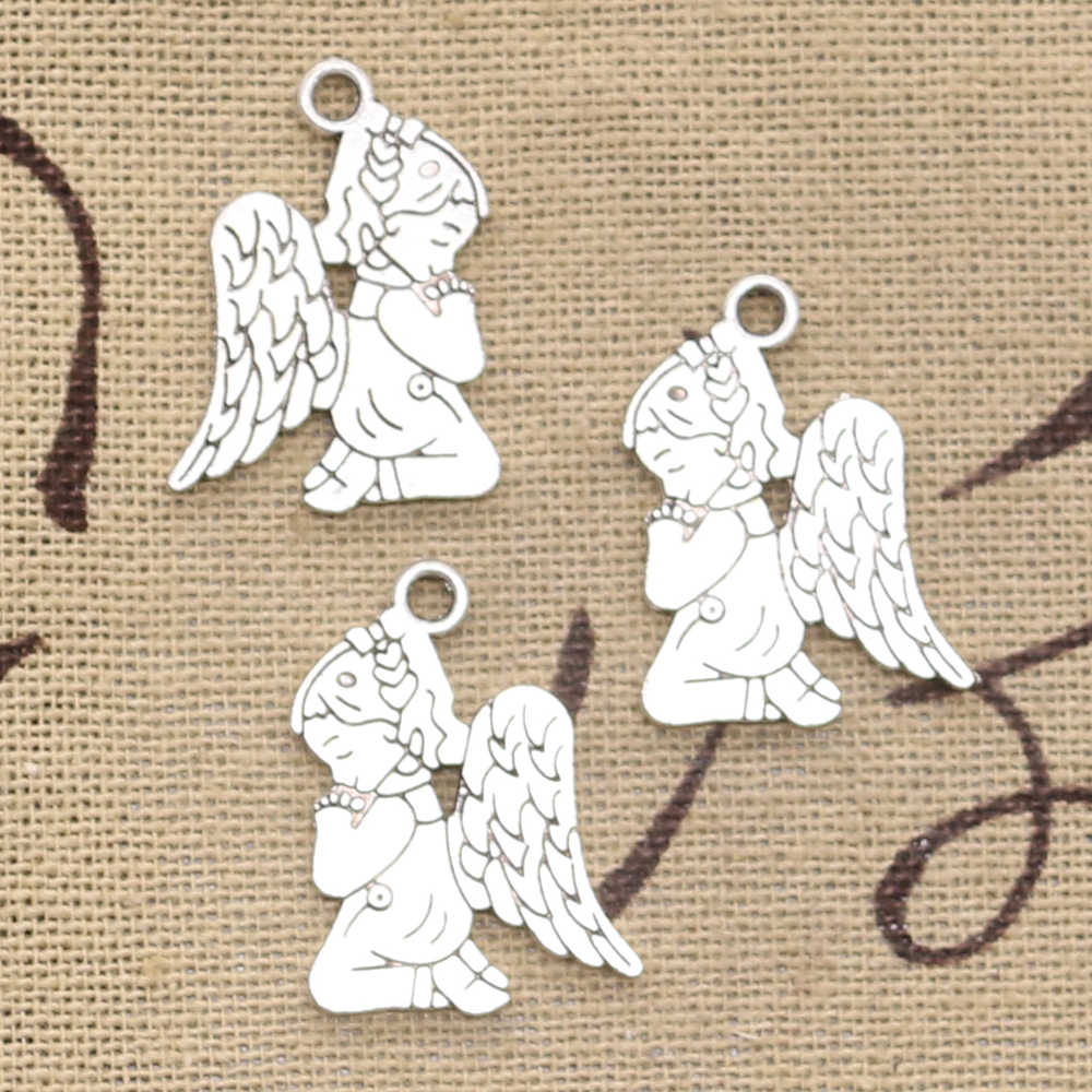 15pcs Charms pray angel 24x17mm Antique Silver Plated Pendants Making DIY Handmade Tibetan Silver Jewelry