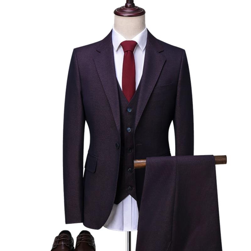 Online Shop 2018 New Brand Red wine Formal Men Suit Skinny Shiny ...